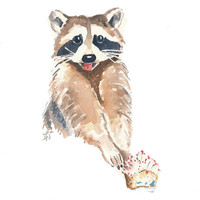 Original Raccoon Watercolor Painting - Raccoon Art, Cupcake Watercolor, 8x10