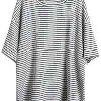 Sheinside Women's Grey Short Sleeve Striped Loose T-Shirt