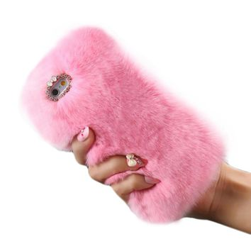 Luxury Crystal Bling Case Winter Warm Fluffy Villi Fur Plush Wool Bling Case Cover Skin For iphone 7 Plus 5.5inch