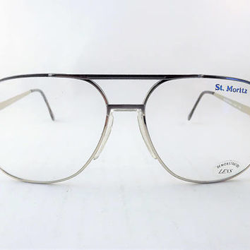 Two Toned Eyeglasses, Big Mens Eyeglasses, Silver Metal Aviator Eyeglasses, Vintage 1980s Glasses, Fixed Bridge Frames, Spring Hinge, NOS