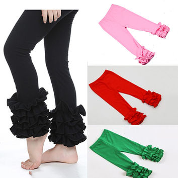 Clearance Children Fashion Leggings Soft Solid Kids Girl Trousers Girls Boutique Pants Ruffle Pants Baby Leggings low price
