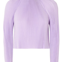 Tibi - Cropped pleated chiffon top
