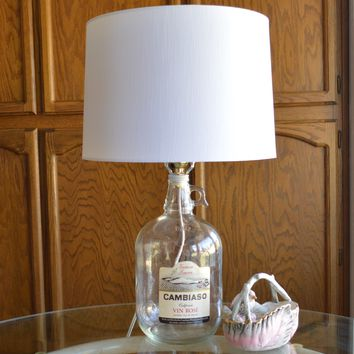 Clear Glass Fillable Vintage Jug Bottle Table Lamp With White Fabric Shade