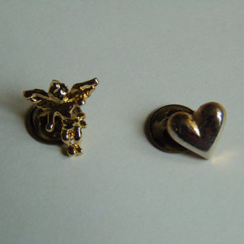 ffd6e58e2285 Angel and Heart Hat Lapel Pin Tie Tack Back