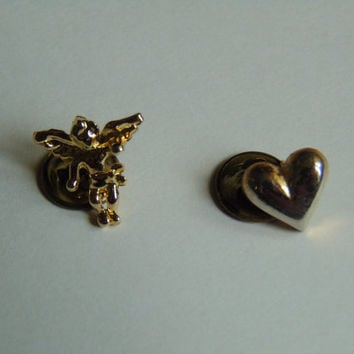 Angel and Heart Hat Lapel Pin Tie Tack Back