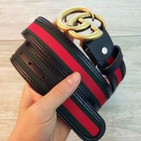Gucci Gold Buckle Leather Belt 110cm : 31-34 inch Waists