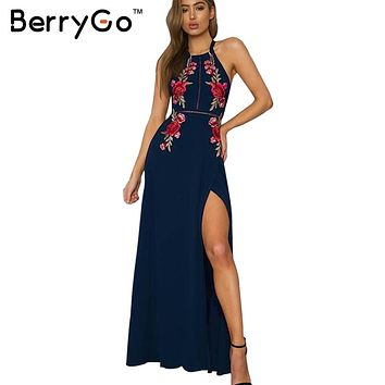 BerryGo Embroidery halter backless long dress 2017 black vintage dress femme