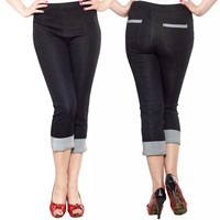 Sourpuss Pedal Pusher Rockabilly Capri Pants | Free Shipping