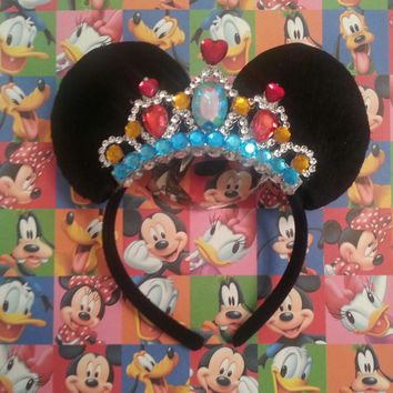 Custom Minnie Mouse Ear Headband Tiara made of soft Felt and lots of GEMS