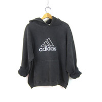 90s ADIDAS HOODIE Sports sweatshirt sporty sweater Black White cotton Adidas Sport pullover with Hood Coed UNISEX size Large Tall