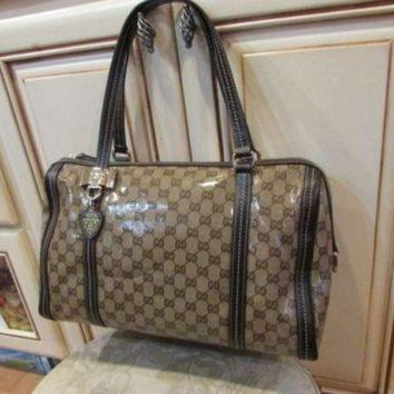 Gucci Women's Designer Crystal Brown Monogram Tote Leather Bag