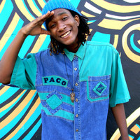 Vintage Denim Shirt, 90s Green and Blue Hip Hop Men's Short Sleeve Button Up by PACO w Patches and Raised Varsity Lettering Detail, Size XL