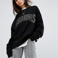 Charms Oversized Sweat With Stud Logo at asos.com