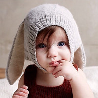New Autumn Winter Kids Rabbit Long Ear Hat Baby Girls & Boys Cute Hat Knitted Baby Bonnet Spring Toddler Beanies Photo Props