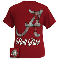 Alabama Crimson Tide Big Plaid Logo State Girlie Bright T Shirt