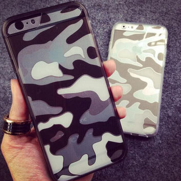 Camouflage silicone frame  phone case for iPhone 7 7 plus iphone 5 5s SE 6 6s 6 plus 6s plus + Nice gift box 072702
