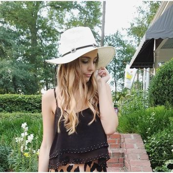 Ivory Western Hat with Black Boho Deets