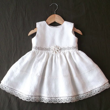 Off white knee length baby girls dress Soft natural linen fiber First birthday sleeveless summer party gown