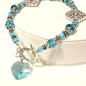 Crystal Blue Light Turquoise Crystal Heart Bracelet - Swarovski Crystal - Bridal, Wedding, Birthday Gift, Prom, Party, Large, Aqua Blue
