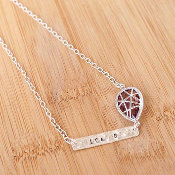 Glass Stone with Tag Necklace