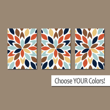 Bedroom WALL ART, CANVAS or Prints, Matching Bedroom Pictures, Colorful Bathroom Artwork, Flower Burst Pedals, Set of 3 Home Decor Art