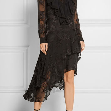 Preen by Thornton Bregazzi - Etha ruffled devoré silk-chiffon midi dress