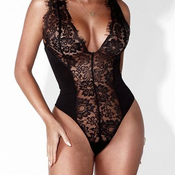 Black V-Neck Plunge Sheer Lace Bodysuit