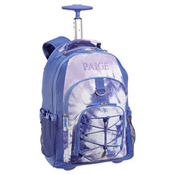 Gear-Up Purple Tie-Dye Rolling Backpack