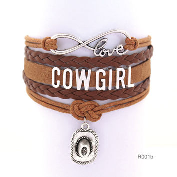 Infinity Love girls Bracelets Cowgirl Bracelet Sports Suede pu Leather Cheer Bracelets for women R001- Drop Shipping