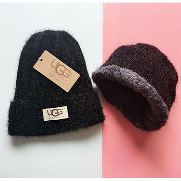 UGG Winter Hot Sale Trending Women Men Thick Knit Hat Warm Cap Black