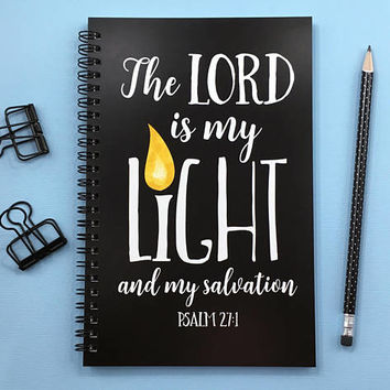 Writing journal, spiral notebook, bullet journal, cute sketchbook, faith, blank lined grid paper - The Lord is my my light and my salvation