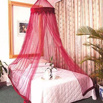 RED WINE COLOR MOSQUITO NET DREAMMA BURGANDY BED CANOPY BEDROOM CURTAIN DECOR OUTDOOR KID TOY PLAY TENT FLY BEE BUG NETTING MESH