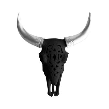 The Ledoux | Large Carved Cow Skull | Faux Taxidermy | Black + Silver Horns Resin
