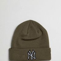 New Era Khaki Beanie with Reflective NY at asos.com