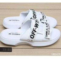 Off White More Letters Two Line Men Slippers B-CSXY  White