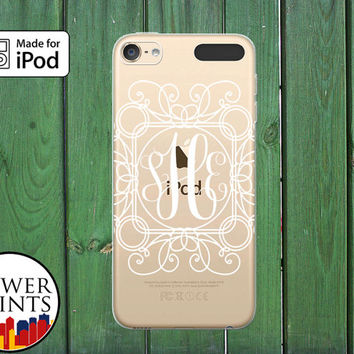 Line Art Fancy Monogram Cursive Pretty White Custom Clear Case For iPod Touch 5th Generation and iPod Touch 6th Generation iPod 5 iPod 6