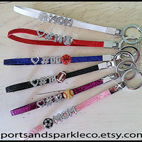 Personalized Keychain Wristlet with Rhinestones and Sports Ball Charm - MOM or Player's Jersey Number