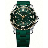Victorinox Swiss Army Maverick GS Mens Strap Watch - Green/Gold Dial - Steel