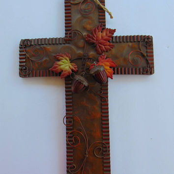 Tin Metal Bronze Color Fall Cross Door Wall Décor