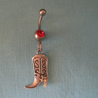 Belly Button Ring - Body Jewelry - Silver Cowgirl with Red Gem Stone Belly Button Ring