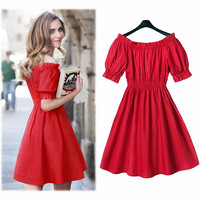 Sexy Women Summer Boho Maxi Dress Mini Dress(Color:Red) Fashion Women Ladies Summer Short  Sleeve T-Shirt = 6141643527