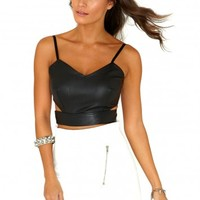 Missguided - Vita Cut Out Zip Back Leather Bralet