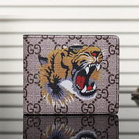 Gucci Man Leather Purse Wallet For Tiger Angry Cat Snake