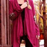 Red Sequined Elbow Open Front Cardigan