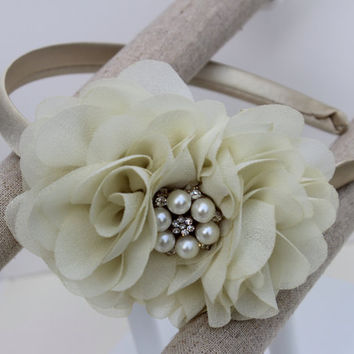 cream girls headband rich cream flower girl headband Champagne headband cream headband toddler headband Champagne and cream hair accessory