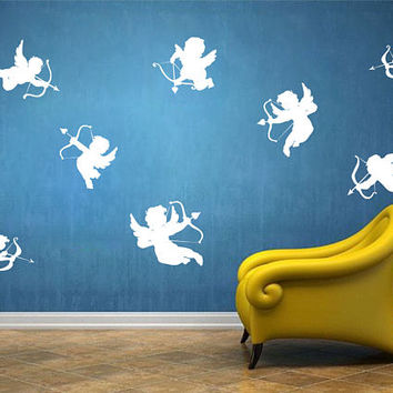 Happy Valentine's Day Wall Decal, Set of 8 Angels Wall Sticker, Valentine's Day Wall Decor, Love Day Angels Quote Wall Art Mural Decal se111