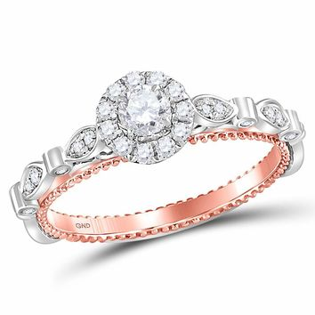 14kt Two-tone Gold Womens Round Diamond Solitaire Bridal Wedding Engagement Ring 3/8 Cttw