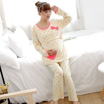 Yellow Autumn Winter Maternity Sleepwear Pajamas Nursing Tops + Belly Pants Breast Feeding Nightgown Clothes For Pregnant Women = 1946398852