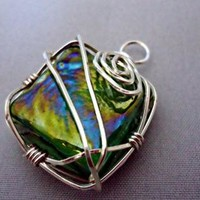 Green Square Glass Wire Wrapped Pendant