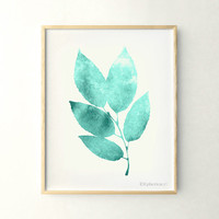 Leaves print Nature decor, Home decor print, 11x14 decor, Printable wall art poster, Living room decor, Teal art, Nature art digital print
